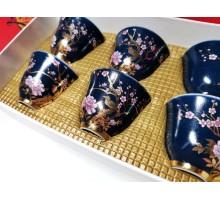 Набор пиал ( синие пиалы с цветами)